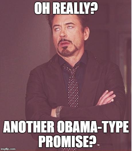 Face You Make Robert Downey Jr Meme | OH REALLY? ANOTHER OBAMA-TYPE PROMISE? | image tagged in memes,face you make robert downey jr | made w/ Imgflip meme maker