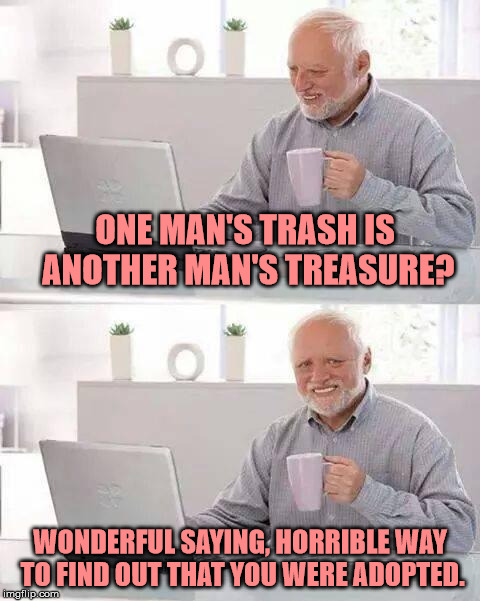 The Truth | ONE MAN'S TRASH IS ANOTHER MAN'S TREASURE? WONDERFUL SAYING, HORRIBLE WAY TO FIND OUT THAT YOU WERE ADOPTED. | image tagged in memes,hide the pain harold,funny | made w/ Imgflip meme maker