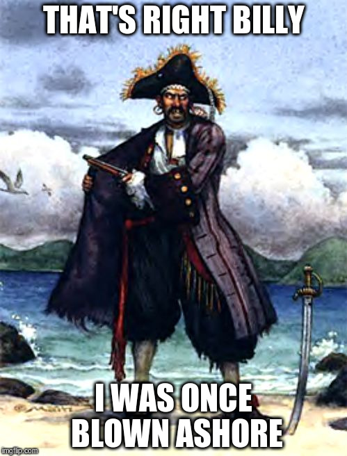 THAT'S RIGHT BILLY I WAS ONCE BLOWN ASHORE | image tagged in pirate | made w/ Imgflip meme maker