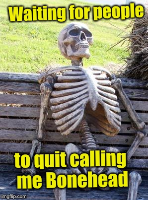 Waiting Skeleton Meme | Waiting for people to quit calling me Bonehead | image tagged in memes,waiting skeleton | made w/ Imgflip meme maker