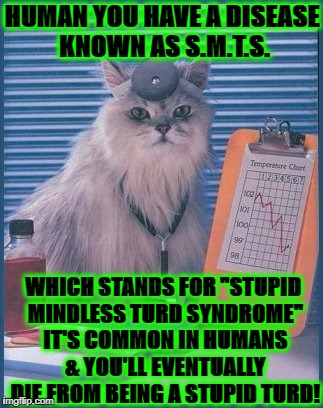 "HUMAN YOU HAVE A DISEASE KNOWN AS S.M.T.S. WHICH STANDS FOR ""STUPID MINDLESS TURD SYNDROME"" IT'S COMMON IN HUMANS & YOU'LL EVENTUALLY DIE FR 