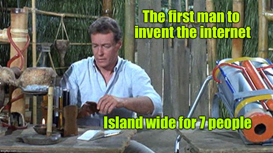 The secret behind why they didn't really try to leave Gilligan's Island | The first man to invent the internet Island wide for 7 people | image tagged in professor gilligans island,professor,internet,invent,not gore | made w/ Imgflip meme maker
