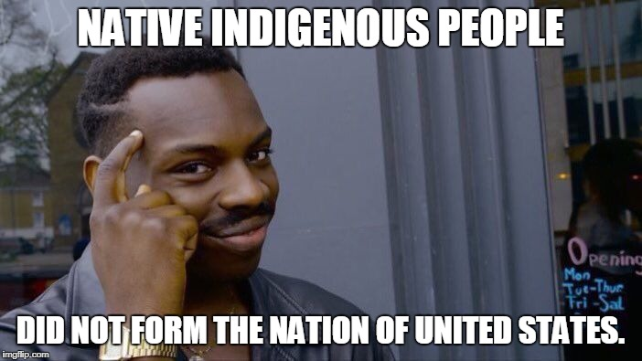 Roll Safe Think About It Meme | NATIVE INDIGENOUS PEOPLE DID NOT FORM THE NATION OF UNITED STATES. | image tagged in memes,roll safe think about it | made w/ Imgflip meme maker