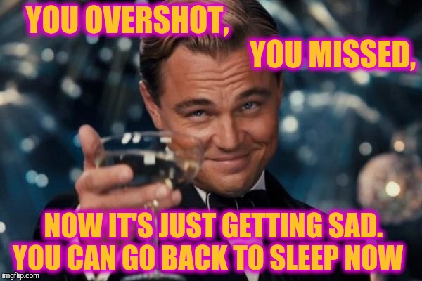 Leonardo Dicaprio Cheers Meme | YOU OVERSHOT,                                                                     YOU MISSED, NOW IT'S JUST GETTING SAD. YOU CAN GO BACK TO  | image tagged in memes,leonardo dicaprio cheers | made w/ Imgflip meme maker