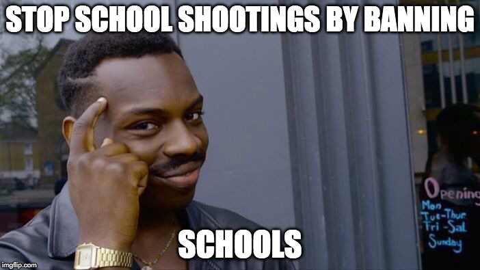 Roll Safe Think About It Meme | STOP SCHOOL SHOOTINGS BY BANNING SCHOOLS | image tagged in memes,roll safe think about it | made w/ Imgflip meme maker