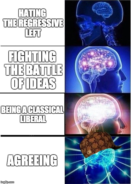 Expanding Brain Meme | HATING THE REGRESSIVE LEFT FIGHTING THE BATTLE OF IDEAS BEING A CLASSICAL LIBERAL AGREEING | image tagged in memes,expanding brain,scumbag | made w/ Imgflip meme maker