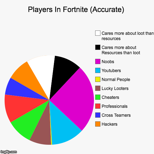 Players In Fortnite (Accurate) | Hackers, Cross Teamers, Professionals, Cheaters, Lucky Looters, Normal People, Youtubers, Noobs, Cares more | image tagged in funny,pie charts | made w/ Imgflip chart maker