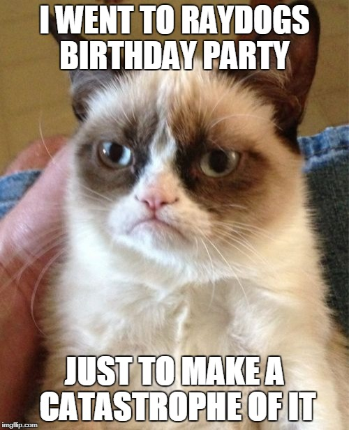 Grumpy Cat Meme | I WENT TO RAYDOGS BIRTHDAY PARTY JUST TO MAKE A  CATASTROPHE OF IT | image tagged in memes,grumpy cat | made w/ Imgflip meme maker