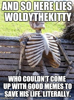 Waiting Skeleton Meme | AND SO HERE LIES WOLDYTHEKITTY WHO COULDN'T COME UP WITH GOOD MEMES TO SAVE HIS LIFE. LITERALLY. | image tagged in memes,waiting skeleton | made w/ Imgflip meme maker