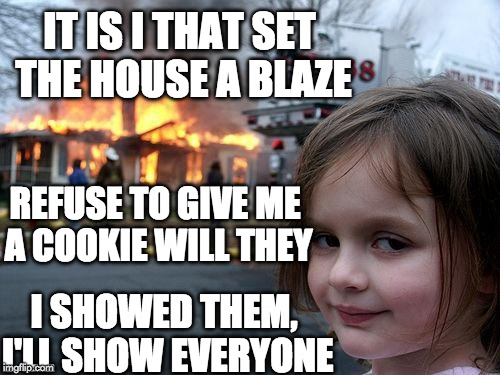 Disaster Girl Meme | REFUSE TO GIVE ME A COOKIE WILL THEY I SHOWED THEM, I'LL SHOW EVERYONE IT IS I THAT SET THE HOUSE A BLAZE | image tagged in memes,disaster girl | made w/ Imgflip meme maker