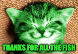 happy RayCat | THANKS FOR ALL THE FISH | image tagged in happy raycat | made w/ Imgflip meme maker