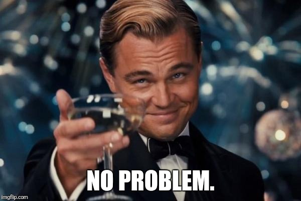 Leonardo Dicaprio Cheers Meme | NO PROBLEM. | image tagged in memes,leonardo dicaprio cheers | made w/ Imgflip meme maker