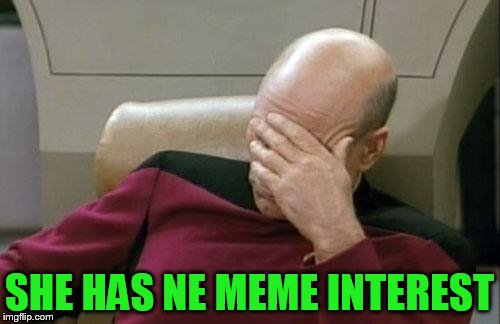 Captain Picard Facepalm Meme | SHE HAS NE MEME INTEREST | image tagged in memes,captain picard facepalm | made w/ Imgflip meme maker