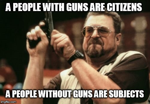 Am I The Only One Around Here Meme | A PEOPLE WITH GUNS ARE CITIZENS A PEOPLE WITHOUT GUNS ARE SUBJECTS | image tagged in memes,am i the only one around here | made w/ Imgflip meme maker