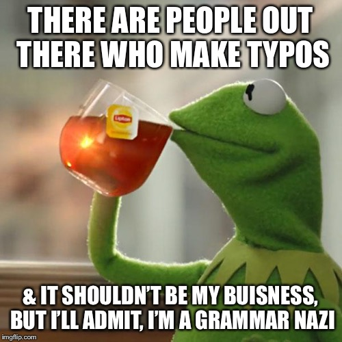 But Thats None Of My Business Meme | THERE ARE PEOPLE OUT THERE WHO MAKE TYPOS & IT SHOULDN'T BE MY BUISNESS, BUT I'LL ADMIT, I'M A GRAMMAR NAZI | image tagged in memes,but thats none of my business,kermit the frog,typos,grammar nazi | made w/ Imgflip meme maker