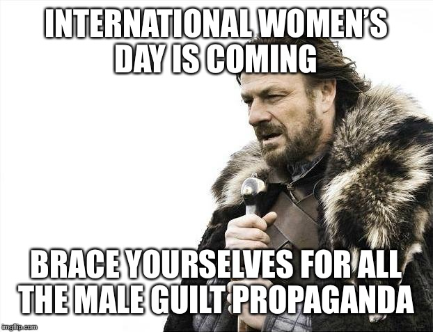 Brace Yourselves X is Coming Meme | INTERNATIONAL WOMEN'S DAY IS COMING BRACE YOURSELVES FOR ALL THE MALE GUILT PROPAGANDA | image tagged in memes,brace yourselves x is coming | made w/ Imgflip meme maker