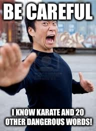 Angry Asian | BE CAREFUL I KNOW KARATE AND 20 OTHER DANGEROUS WORDS! | image tagged in memes,angry asian | made w/ Imgflip meme maker