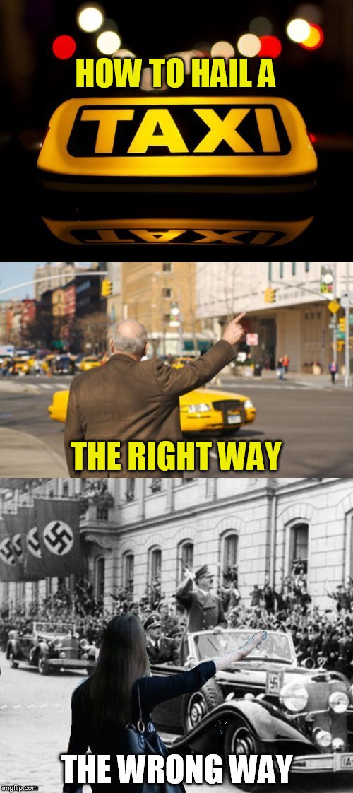 Hail Hit... Taxi | HOW TO HAIL A THE WRONG WAY THE RIGHT WAY | image tagged in memes,taxi,hitler,hail hitler,hail,its a joke | made w/ Imgflip meme maker