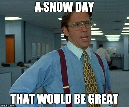 That Would Be Great Meme | A SNOW DAY THAT WOULD BE GREAT | image tagged in memes,that would be great | made w/ Imgflip meme maker