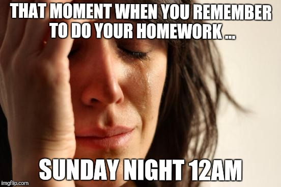First World Problems Meme | THAT MOMENT WHEN YOU REMEMBER TO DO YOUR HOMEWORK ... SUNDAY NIGHT 12AM | image tagged in memes,first world problems | made w/ Imgflip meme maker