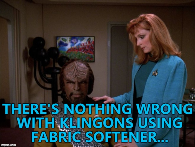 To boldly wash where no Klingon has washed before... :) | THERE'S NOTHING WRONG WITH KLINGONS USING FABRIC SOFTENER... | image tagged in memes,star trek,fabric softener,sci-fi,it's okay worf. | made w/ Imgflip meme maker