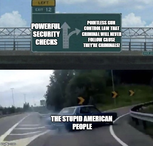 POWERFUL SECURITY CHECKS POINTLESS GUN CONTROL LAW THAT CRIMINAL WILL NEVER FOLLOW CAUSE THEY'RE CRIMINALS! THE STUPID AMERICAN PEOPLE | image tagged in car turn | made w/ Imgflip meme maker