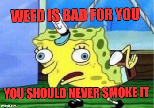 Mocking Spongebob Meme | WEED IS BAD FOR YOU YOU SHOULD NEVER SMOKE IT | image tagged in memes,mocking spongebob | made w/ Imgflip meme maker