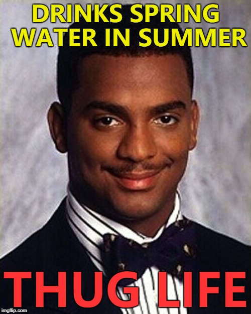 It gives him a bounce... :) | DRINKS SPRING WATER IN SUMMER THUG LIFE | image tagged in carlton banks thug life,memes,spring water,drink | made w/ Imgflip meme maker