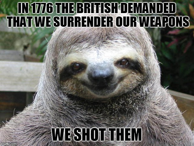 IN 1776 THE BRITISH DEMANDED THAT WE SURRENDER OUR WEAPONS WE SHOT THEM | image tagged in happy smug sloth | made w/ Imgflip meme maker