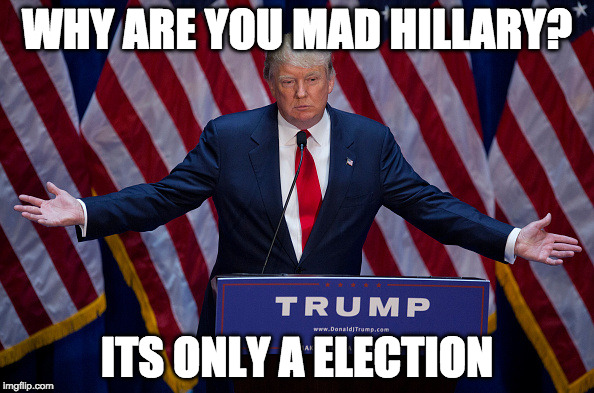 Donald Trump | WHY ARE YOU MAD HILLARY? ITS ONLY A ELECTION | image tagged in donald trump | made w/ Imgflip meme maker