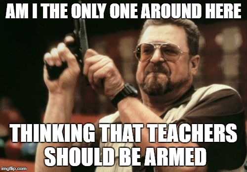Am I The Only One Around Here Meme | AM I THE ONLY ONE AROUND HERE THINKING THAT TEACHERS SHOULD BE ARMED | image tagged in memes,am i the only one around here | made w/ Imgflip meme maker