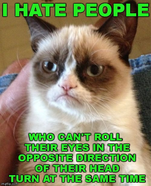 Take The Eye Roll Challenge | I HATE PEOPLE WHO CAN'T ROLL THEIR EYES IN THE OPPOSITE DIRECTION OF THEIR HEAD TURN AT THE SAME TIME | image tagged in grumpy cat,people,hate,challenge,eye roll challenge,fail | made w/ Imgflip meme maker