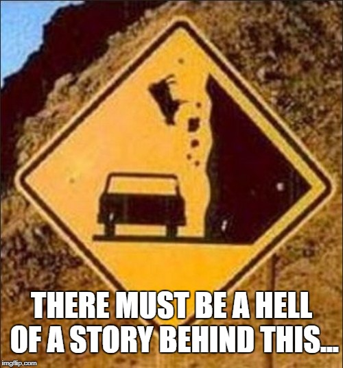 THERE MUST BE A HELL OF A STORY BEHIND THIS... | image tagged in falling animal road sign | made w/ Imgflip meme maker