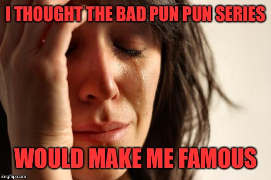 I THOUGHT THE BAD PUN PUN SERIES WOULD MAKE ME FAMOUS | image tagged in memes,first world problems | made w/ Imgflip meme maker