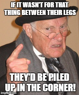 IF IT WASN'T FOR THAT THING BETWEEN THEIR LEGS THEY'D BE PILED UP IN THE CORNER! | made w/ Imgflip meme maker