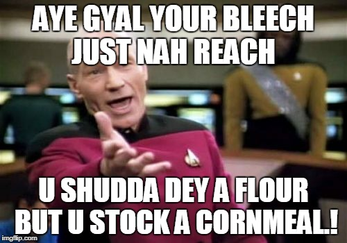 Picard Wtf Meme | AYE GYAL YOUR BLEECH JUST NAH REACH U SHUDDA DEY A FLOUR BUT U STOCK A CORNMEAL.! | image tagged in memes,picard wtf | made w/ Imgflip meme maker