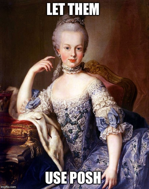 LET THEM USE POSH | image tagged in marie antoinette | made w/ Imgflip meme maker