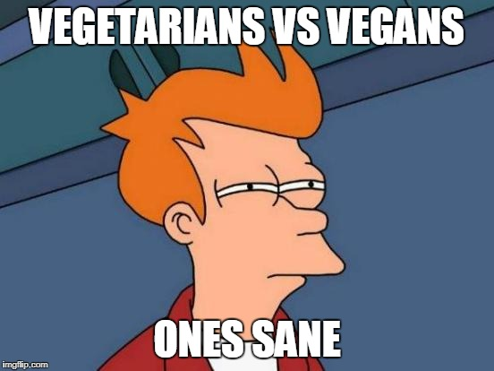Futurama Fry Meme | VEGETARIANS VS VEGANS ONES SANE | image tagged in memes,futurama fry | made w/ Imgflip meme maker