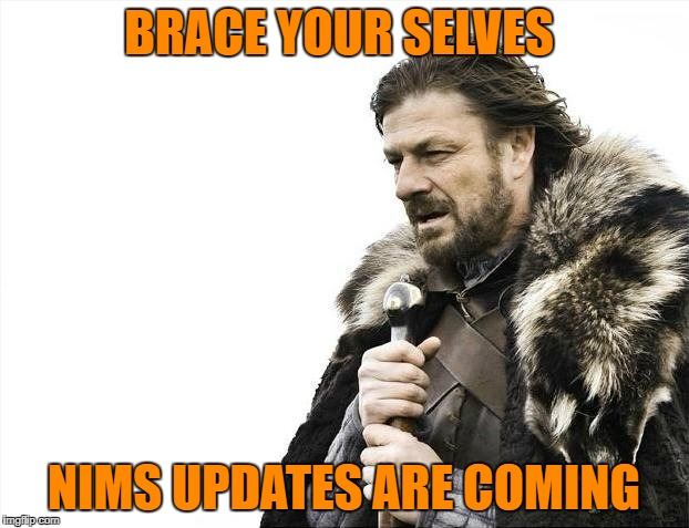 Brace Yourselves X is Coming Meme | BRACE YOUR SELVES NIMS UPDATES ARE COMING | image tagged in memes,brace yourselves x is coming | made w/ Imgflip meme maker