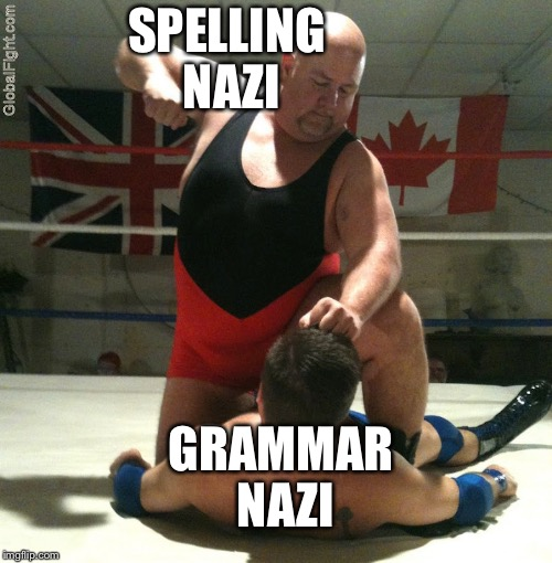 Beating Up | SPELLING NAZI GRAMMAR NAZI | image tagged in beating up | made w/ Imgflip meme maker
