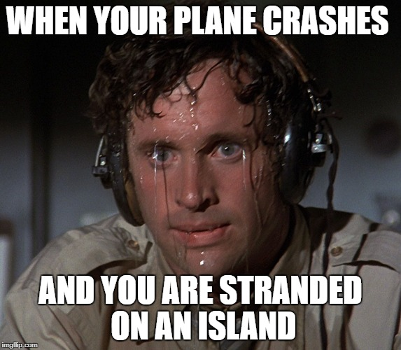 Nervous Face | WHEN YOUR PLANE CRASHES AND YOU ARE STRANDED ON AN ISLAND | image tagged in nervous face | made w/ Imgflip meme maker