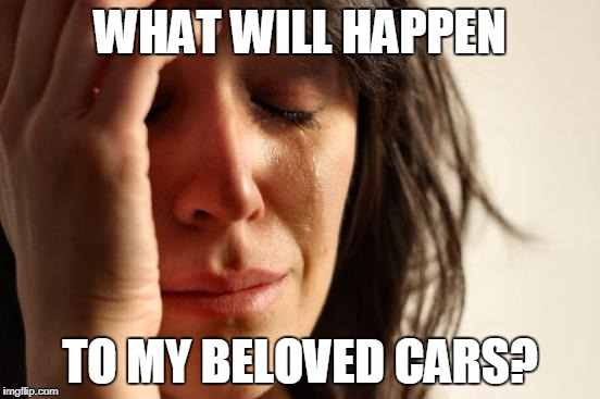 First World Problems Meme | WHAT WILL HAPPEN TO MY BELOVED CARS? | image tagged in memes,first world problems | made w/ Imgflip meme maker