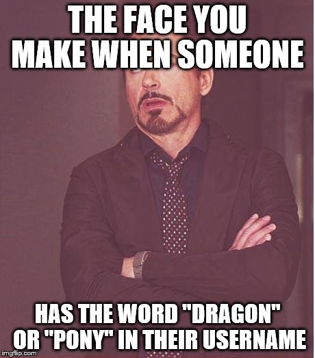 "Face You Make Robert Downey Jr Meme | THE FACE YOU MAKE WHEN SOMEONE HAS THE WORD ""DRAGON"" OR ""PONY"" IN THEIR USERNAME 