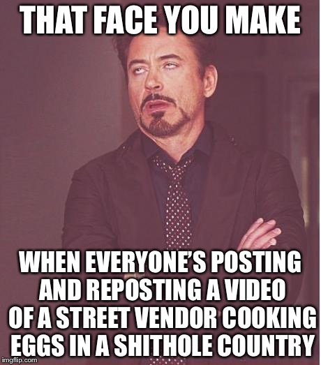 Face You Make Robert Downey Jr Meme | THAT FACE YOU MAKE WHEN EVERYONE'S POSTING AND REPOSTING A VIDEO OF A STREET VENDOR COOKING EGGS IN A SHITHOLE COUNTRY | image tagged in memes,face you make robert downey jr | made w/ Imgflip meme maker