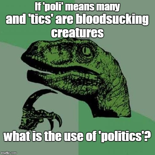 Any uses other than igniting flame wars in the comment section?  | If 'poli' means many what is the use of 'politics'? and 'tics' are bloodsucking creatures | image tagged in philosoraptor,politics,political memes,flame war,memes | made w/ Imgflip meme maker