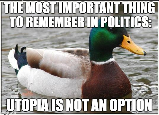 No kind of politics can create an ideal society. A politician who promises Utopia is lying. | THE MOST IMPORTANT THING TO REMEMBER IN POLITICS: UTOPIA IS NOT AN OPTION | image tagged in memes,actual advice mallard | made w/ Imgflip meme maker