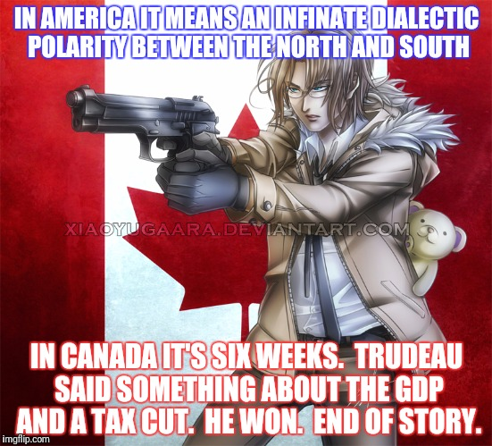 IN AMERICA IT MEANS AN INFINATE DIALECTIC POLARITY BETWEEN THE NORTH AND SOUTH IN CANADA IT'S SIX WEEKS.  TRUDEAU SAID SOMETHING ABOUT THE G | made w/ Imgflip meme maker