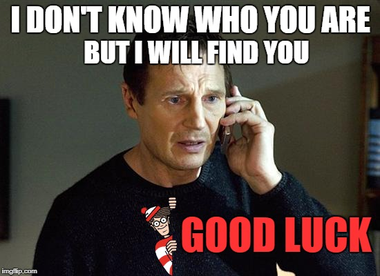 me in a wheres wally book | I DON'T KNOW WHO YOU ARE BUT I WILL FIND YOU GOOD LUCK | image tagged in memes,liam neeson taken 2 | made w/ Imgflip meme maker