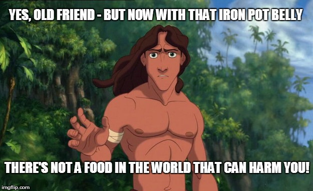 YES, OLD FRIEND - BUT NOW WITH THAT IRON POT BELLY THERE'S NOT A FOOD IN THE WORLD THAT CAN HARM YOU! | made w/ Imgflip meme maker