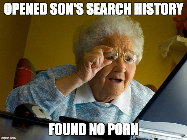 Grandma Finds The Internet Meme | OPENED SON'S SEARCH HISTORY FOUND NO PORN | image tagged in memes,grandma finds the internet | made w/ Imgflip meme maker